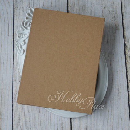 Album base accordion, harmonica paper kraft cover, kraft cards 14,5 x 19,5 - Eco-scrapbooking