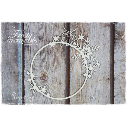 frame with snowflakes, circle - laser cut, chipboard - snipart frosty moments