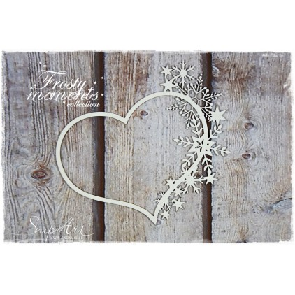 frame with snowflakes, heart - laser cut, chipboard - snipart frosty moments