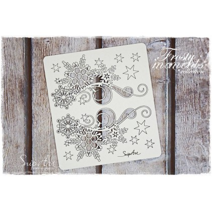 decors with snowflakes set 2 - laser cut, chipboard - snipart frosty moments
