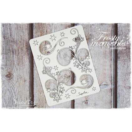 decors with snowflakes set 3 - laser cut, chipboard - snipart frosty moments