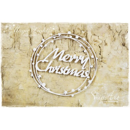 Merry Christmas inscription in a circle - laser cut, chipboard - snipart magic lights