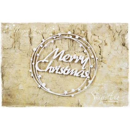 Merry Christmas napis w kole - tekturka - snipart magic lights