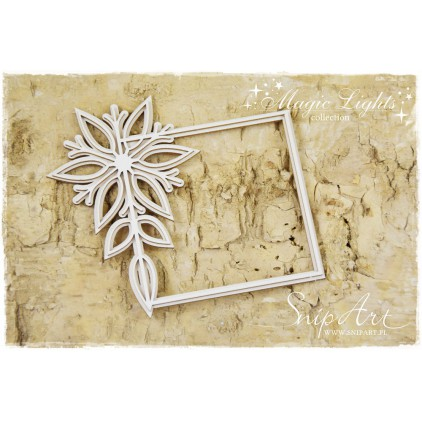 layered frame with snowflake - laser cut, chipboard - snipart magic lights