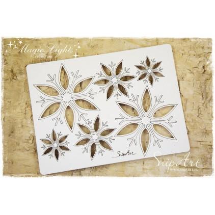snowflakes 6 pcs.- laser cut, chipboard - snipart magic lights