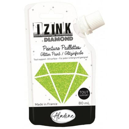 farba z brokatem - aladine izink diamond vert clair - 80ml - zielona limonkowa