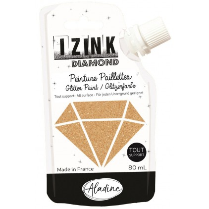 glitter paint - aladine izink diamond dore cuivre - 80ml - gold copper
