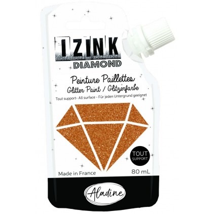 glitter paint - aladine izink diamond cuivre - 80ml - copper