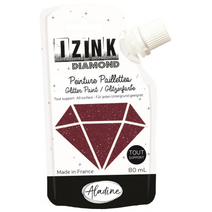 glitter paint - aladine izink diamond marron - 80ml - brown