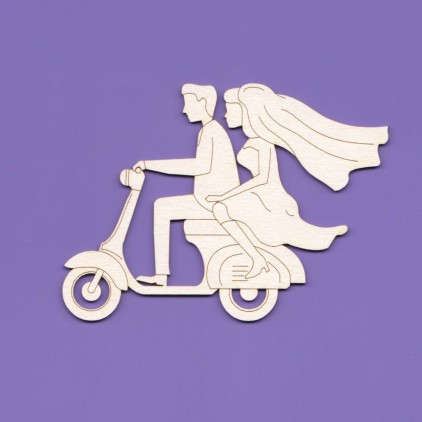 couple on a scooter - laser cut, chipboard - Crafty Moly 1017