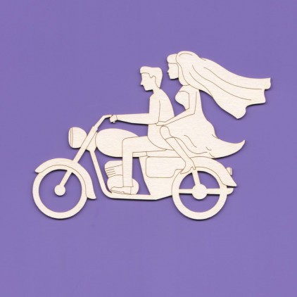 couple on a motorcycle - laser cut, chipboard - Crafty Moly 1016