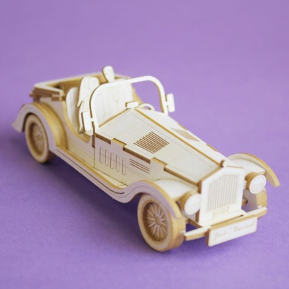 retro wedding car 3D laser cut, chipboard - Crafty Moly 1402