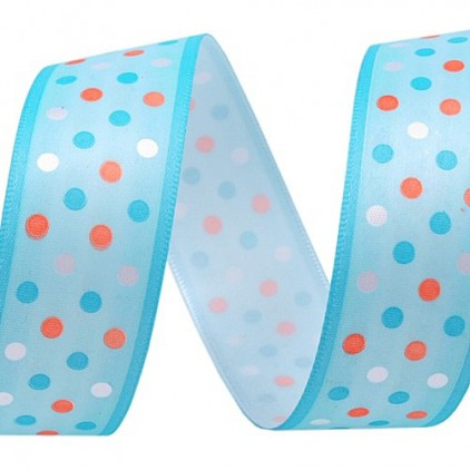 blue dotted ribbon - 1m satin ribbon