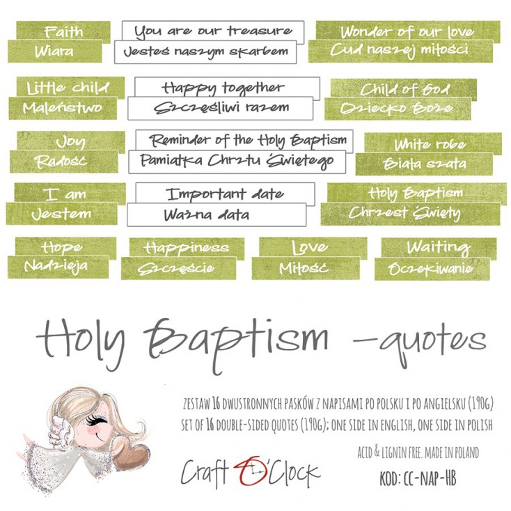 Napisy die cuts - Craft O Clock - Holy Baptism