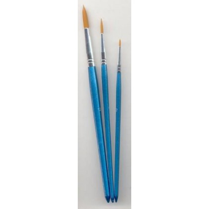 A set of round nylon brushes for painting 01- 3 pieces