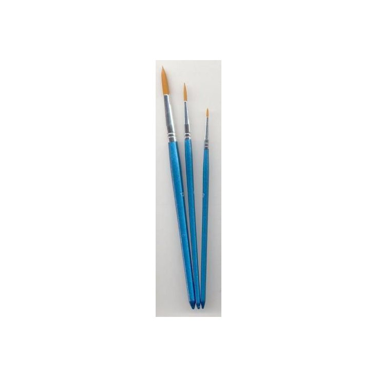 A set of round nylon brushes for painting - 3 pieces