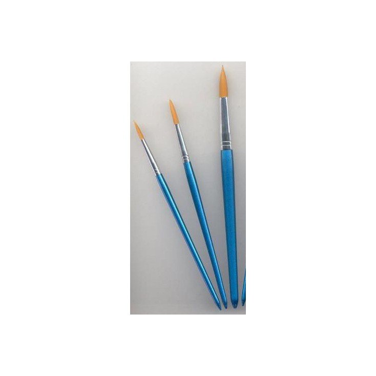 A set of round nylon brushes for painting 02 - 3 pieces