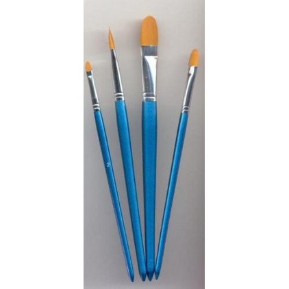 Set of flat, rounded nylon brushes for painting 01 - 4 pieces