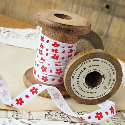 ribbon red flowers - grosgrain ribbon 1m