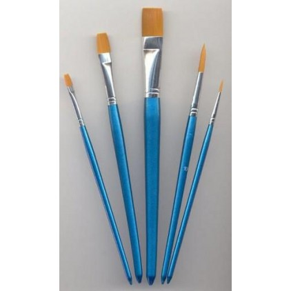 Set of nylon brushes for painting 02 - 5 pieces
