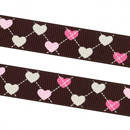 dark brown ribbon colorful hearts - grosgrain ribbon 1m