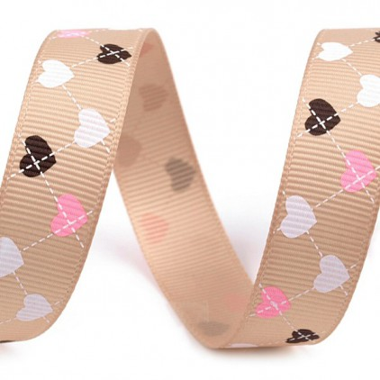 cappuccino ribbon colorful hearts - grosgrain ribbon 1m