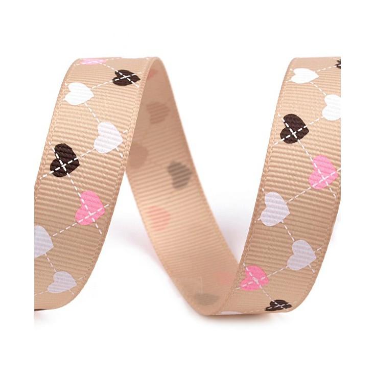 cappuccino ribbon colorful hearts - grosgrain ribbon 1m