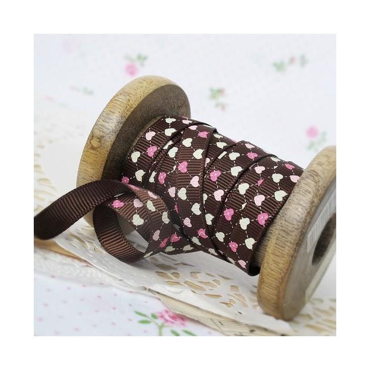 dark brown ribbon colorful hearts, narrow - grosgrain ribbon 1m