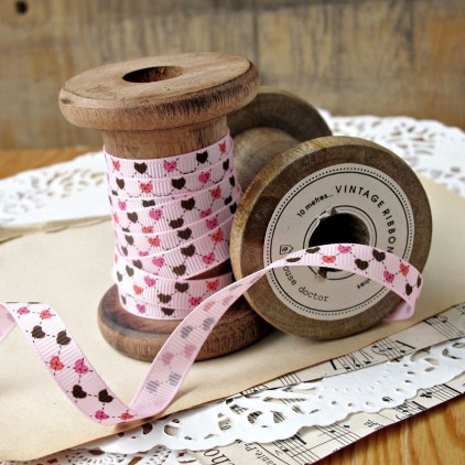 narrow pink ribbon colorful hearts - grosgrain ribbon 1m