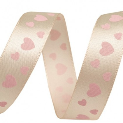 cream ribbon, pink heart - 1m satin ribbon