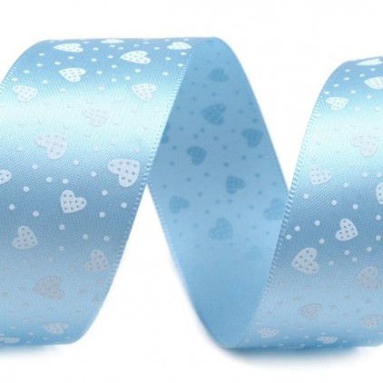 blue ribbon, white small heart - 1m satin ribbon
