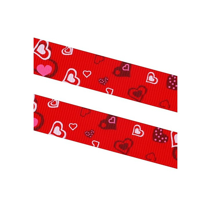 red ribbon colorful hearts - grosgrain ribbon 1m