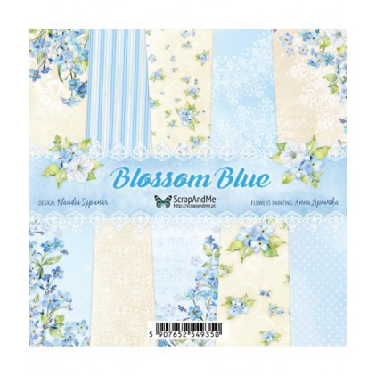 Blossom Blue, small paper pad - Sets of scrapbooking papers 15x15cm - ScrapAndMe