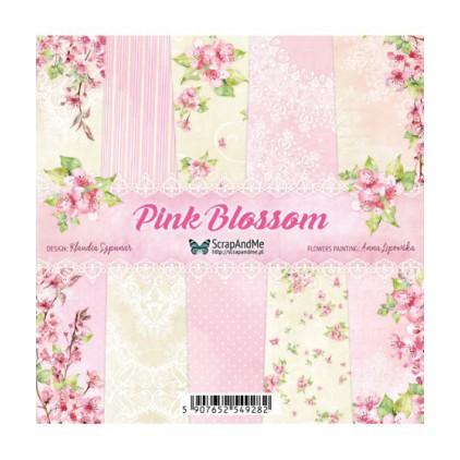 Pink Blossom, mały bloczek - Papiery do scrapbookingu 15x15cm - Zestaw - ScrapAndMe