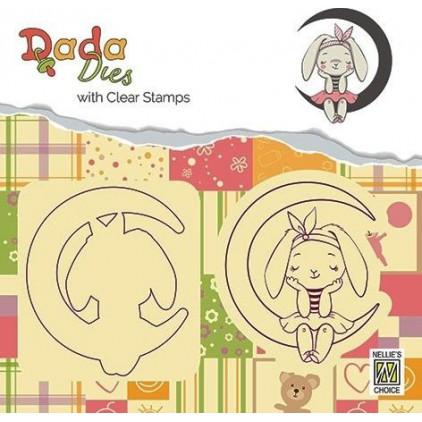stempel i wykrojnik króliczek na księżycu DADA - Nellie's Choice DDCS001