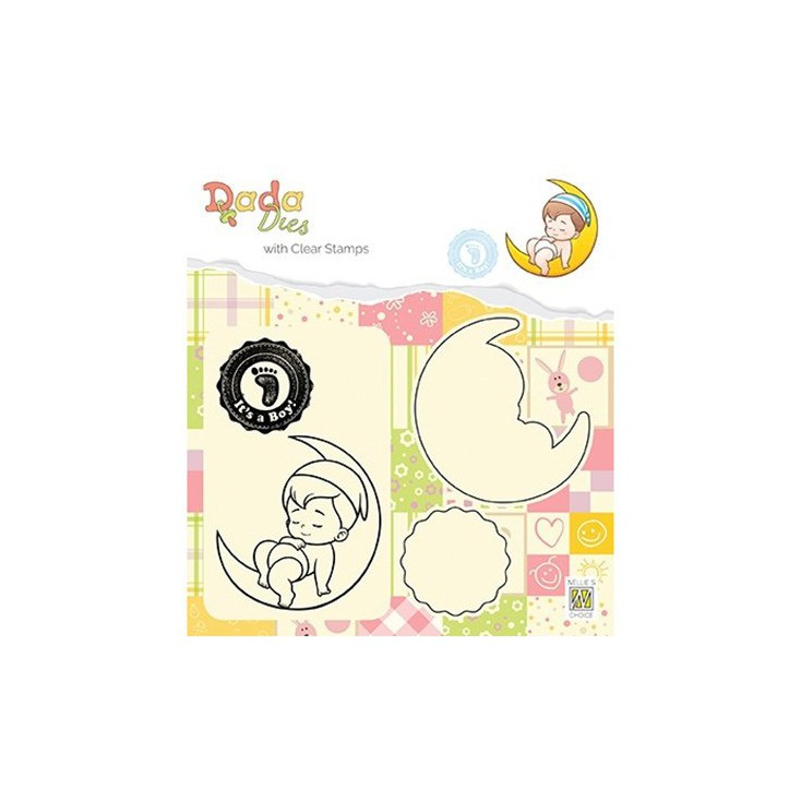 stamp and die It's a boy on the moon - Nelie's Choice DDCS011
