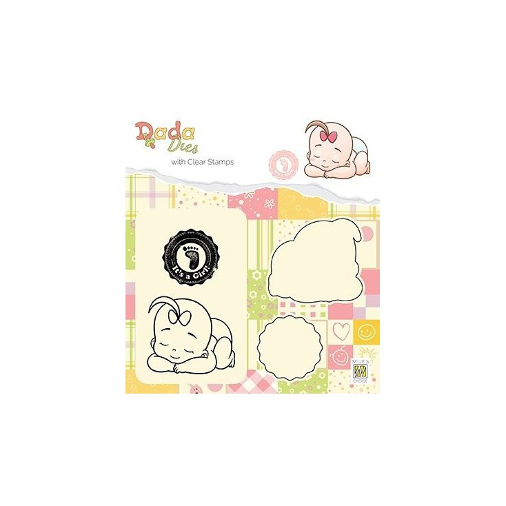 stamp and die It's a girl taking a rest - Nelie's Choice DDCS013