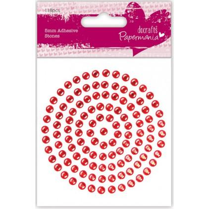 Samoprzylepne cyrkonie - 5 mm - czerwone - docrafts