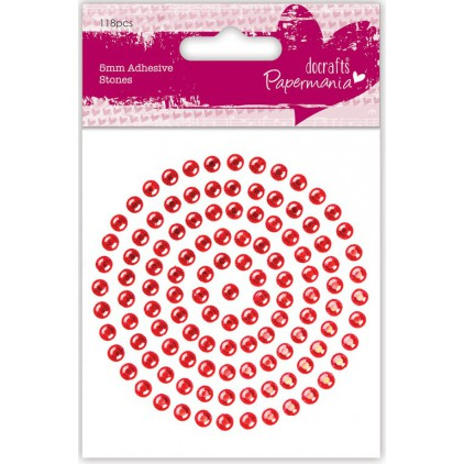 Self-adhesive rhinestones - 5 mm - red - docrafts