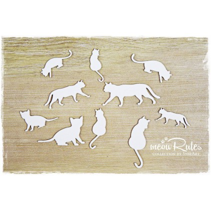 cats set - laser cut, chipboard - snipart Meow Rules