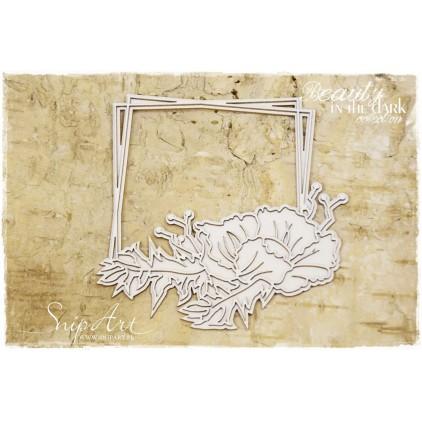 ramka z kwiatem warstwowa kwadrat tekturka - snipart Beauty in the Dark