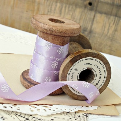 violet ribbon with daisies- 1m satin ribbon