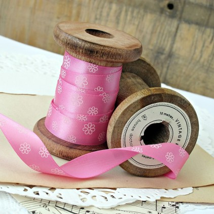 pink ribbon with daisies- 1m satin ribbon
