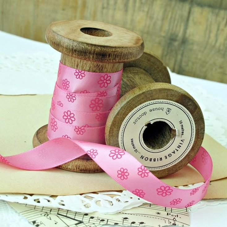 pink ribbon with pink daisies- 1m satin ribbon