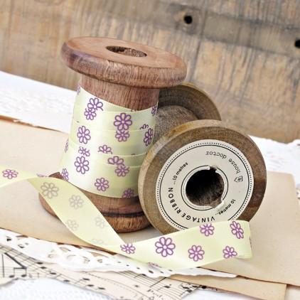 yellow ribbon with violet daisies- 1m satin ribbon