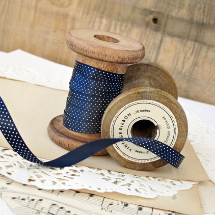 navy blue ribbon with dots 1 cm - 1m satin ribbon