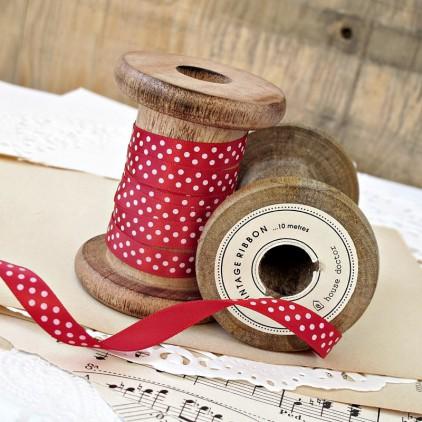 red ribbon with dots 1 cm - 1m satin ribbon