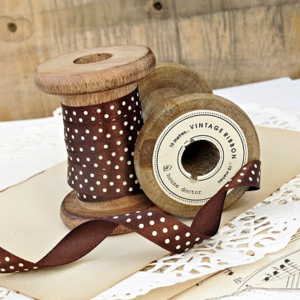 brown ribbon with dots 1,5 cm - 1m satin ribbon