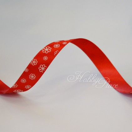red ribbon with daisies- 1m satin ribbon
