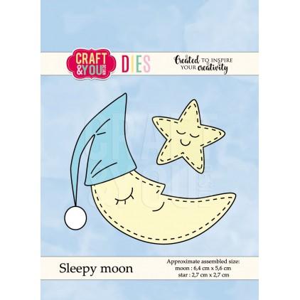 księżyc wykrojnik - Craft&you design sleepy moon CW049